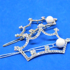 "2.25"" Gold & Silver Crystal Stone Crown Auto Bobbie Pins 12 per pk .54 each"