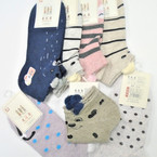 Cute Stripe & Dot Ankle Socks w/ Pom Pom  ind. carded .54 each pair