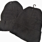 All Black Knit Beanie Caps Adult Size  12 per pk .65 ea