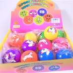 "2"" Light Up Hi Bounce Unicorn Balls 12 per display bx .56 each"