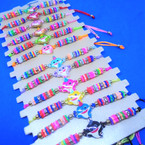 Colorful Beaded Cord Bracelets w/ Happy Shark 12 per card  .54 ea