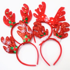 "Christmas 5"" Reindeer Fun Headbands 4 styles .58 each"