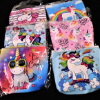 "4"" Unicorn Theme Zipper Coin Purse 6 styles 12 per pk .55 each"