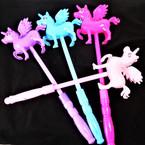 """13"""" Light Up Flying Unicorn Wands Asst Colors 12 per pk .70 each"""