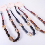 "16"" Wood Disc Choker Necklace w/ Cowrie Shells 3 colors .58 each"