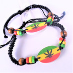 Black Macrame Bracelet w/ Rasta Beads & Leaf  .54 each