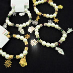 White Pearl & Cry. Bead 5 Gold & Silver Charm Christmas Bracelets  .58 each