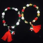 Nice Multi Style Bead Christmas Bracelets w/ Charm & Red Tassel  .58 each