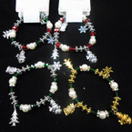 White Pearl & Cry. Bead 4 Gold & Silver Charm Christmas Bracelets  .58 each