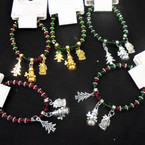 Red & Green Crystal Bead Christmas Bracelets w/ 3 Charms  .58 each