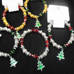 Gold,Silver & Crystal Bead Christmas Bracelets Tree Charm .58 each