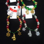 Oval Gold,Silver & Crystal Bead Christmas Bracelets w/Charms .58 each