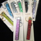 "4.5"" DBL Sided Crystal Stone Strap Keychains w/ Clip Mixed Colors  .58 ea"