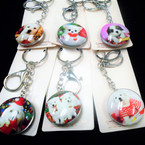 DBL Sided Glass Keychains w/ 12 Mixed Styles Your Favorite Dogs .56 ea