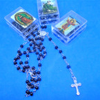 "32"" Black Bead  Rosary in Square Keepsake   Box w/ Silver Cross   .58 each"