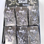Silver Chain Necklace w/ Cry. Stone Skull Pendant 36 per display .79 each