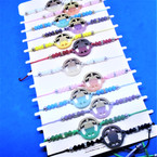 Beaded Cord  Bracelets w/ Two Tone Turtle Charm  12 per card .54 ea