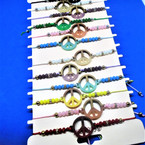 Beaded Cord  Bracelets w/ Two Tone Peace Sign   12 per card .54 ea