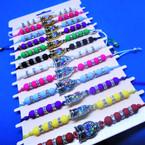 Bead & Crystal Cord  Bracelets w/ Bead/Crystal Owl  Charm  12 per card .54 ea