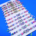 Bead & Crystal Cord  Bracelets w/ Bead/Crystal Butterfly  Charm  12 per card .54 ea