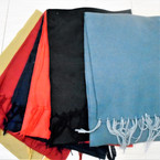 "11.5"" X 58"" Light Fleece Fringe Scarf Dark Color Mix 12 per pk $ .88  each"