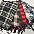 "11.5"" X 58"" Light Fleece Fringe Scarf Plaid/Checker Mix 12 per pk $ .88  each"