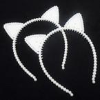 So Cute White Pearl Cat Ear Headbands 12 per pk  .56 each