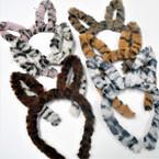 Fury Animal Print Rabbit Ear Novelty Headbands  6 colors .56 each