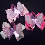 """3"""" Pink Ribbon Bow w/ Sparkle Angel Wings & Metallic Pink Ribbon 24 per pk .28 each"""