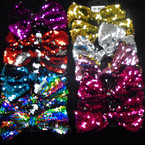 "5.5"" Gator Clip  Bow w/ Sequin Mixed Colors Hot Sellers .54 each"