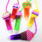 "4"" Mixed Food Theme Glitter Fruit Lip Gloss 12 per pk .56 each"