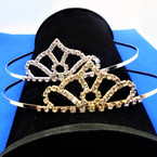Gold/Silver Rhinestone Tiara Headbands Clear Stones (643) .65 each