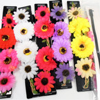 Popular Colorful Flower Headbands w/ Elastic Back .50 each