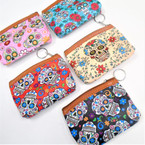 "5"" Asst Color Sugar Skull Zipper Coin Purse w/ Key Chain .56 each"