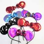 Metallic Mouse Ear Headbands w/ Sequin Bow .56 each