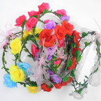 Asst Color Flower Hair Garland/Halo 12 per box  .56 each