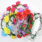 Asst Color Flower Hair Garland/Halo 12 per box  .56 each