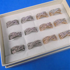 Multi Line Gold & Silver Cry. Stone Fashion Rings .56 each