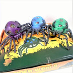 """4.5"""" Soft & Squeezy Gel Ball Filled Spiders 12 per display bx .79 each"""