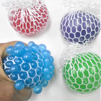 "3"" Pearlized Squishy Mesh Balls 12 per display bx .65 each"