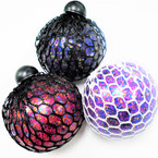 "3"" Rainbow Glitter Squishy Mesh Balls 12 per display bx .65 each"