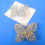 """2.5"""" Gold & Silver Butterfly Broach Loaded w/ Crystal Stones 12 per pk .65 ea"""