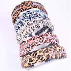 Animal Print Knot Headbands w/ 2 Line Clear Rhinestones   .54 each