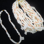 """16"""" Chipped Puka Shell Necklaces White w/ Lite Pink 12 per pk  $ 1.00 each"""