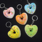 "2"" Soft & Squishy Heart Shaped Donut Keychains Asst Colors .55 each"