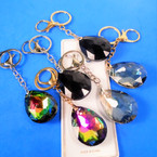 "Classy Look 3"" Glass Tear Drop Crystal Keychains  .55 each"