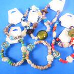 Glass,Crystal Bead & Shell Fashion Stretch Bracelets .54 each