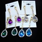 "2"" Gold Crystal Stone Tear Drop Stone  Fashion Earrings .54 each pair"