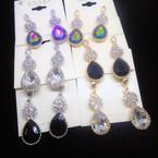 Elegant Petite Crystal Stone Tear Drop Stone  Fashion Earrings .54 each pair