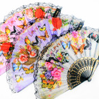 "9"" Black Handle Lace Fans New Butterfly  Prints  .56 each"
